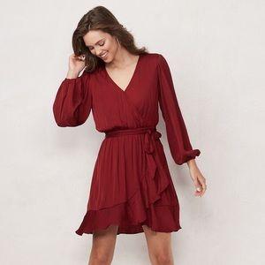 LC Lauren Conrad Sz S Red Long Sleeve Wrap Dress